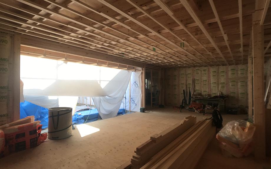 八尾の中庭型住宅 内部の工事写真