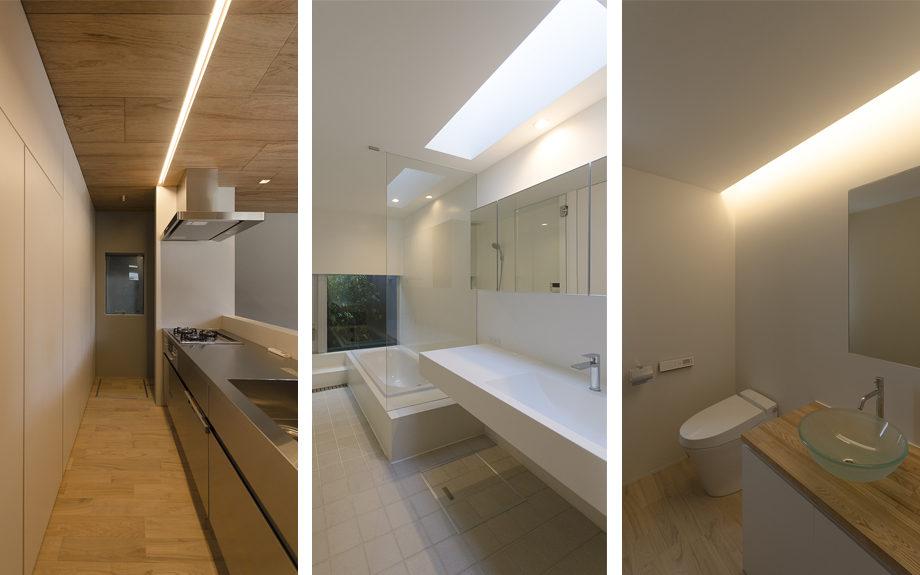 大阪市内に建つ中庭を持つコートハウス。キッチンや洗面所、トイレの画像。