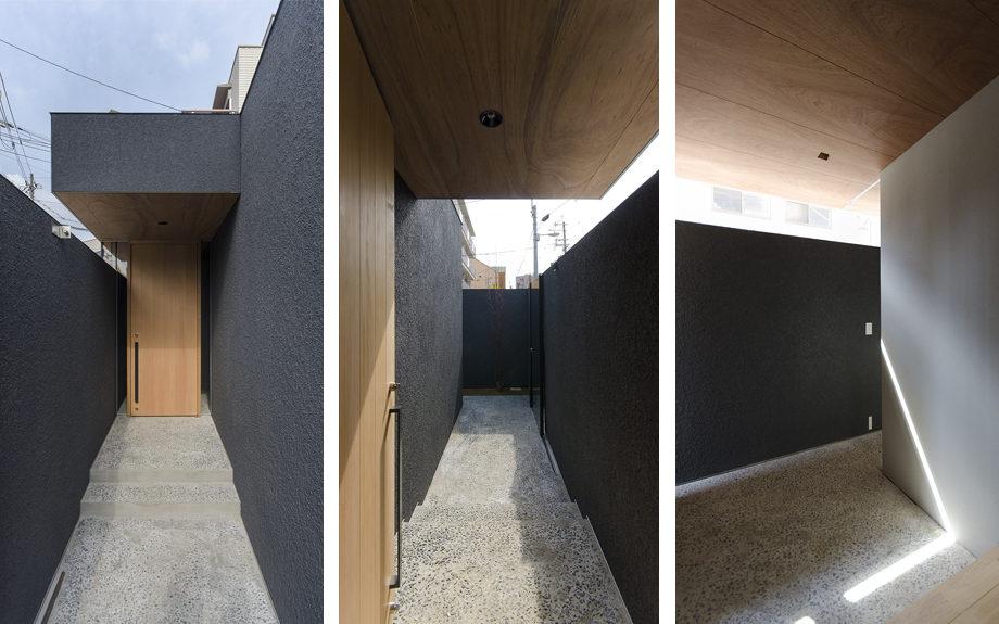 大阪市内に建つ中庭を持つコートハウス。ポーチと玄関ホール