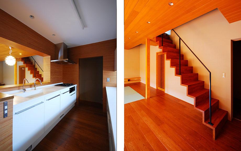 大阪府和泉市にある中庭の家、和モダン内観実例