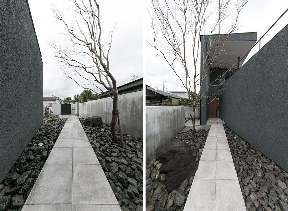 大阪府池田市の注文住宅,外観実例,ビューテラスハウス,玄関へのアプローチ