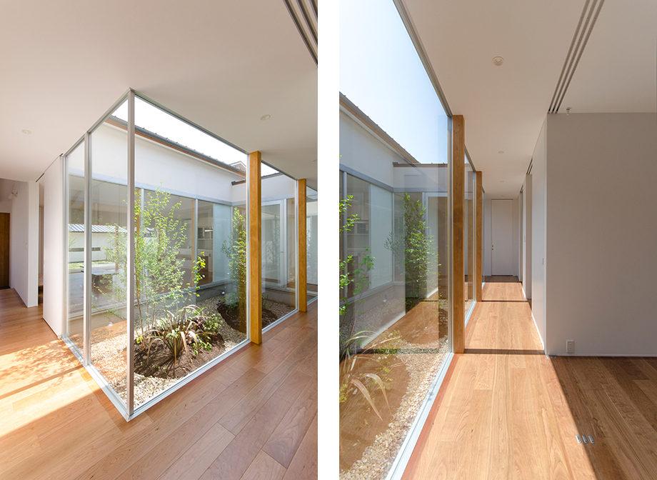 岐阜県多治見市にある中庭のある平屋の家、廊下の内観写真
