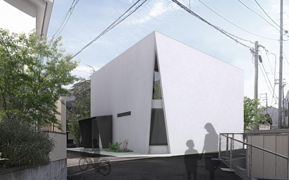 大阪市に計画中の台形型の中庭を持つコートハウス、外観イメージ