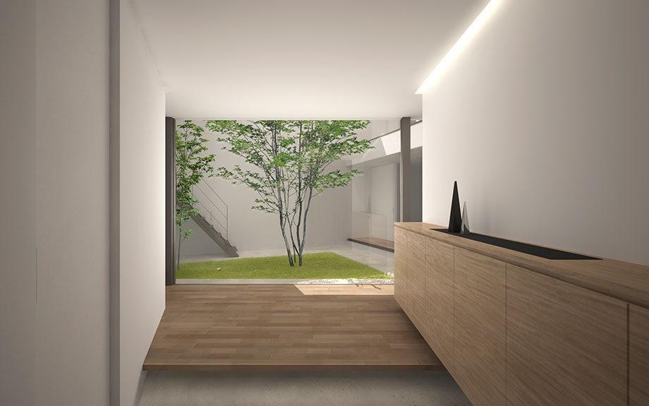 大阪市に計画中の中庭のある注文住宅の玄関イメージ
