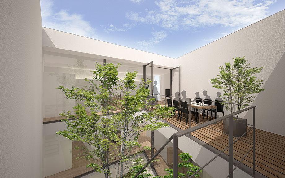 大阪市に設計中の中庭のある注文住宅2階デッキ