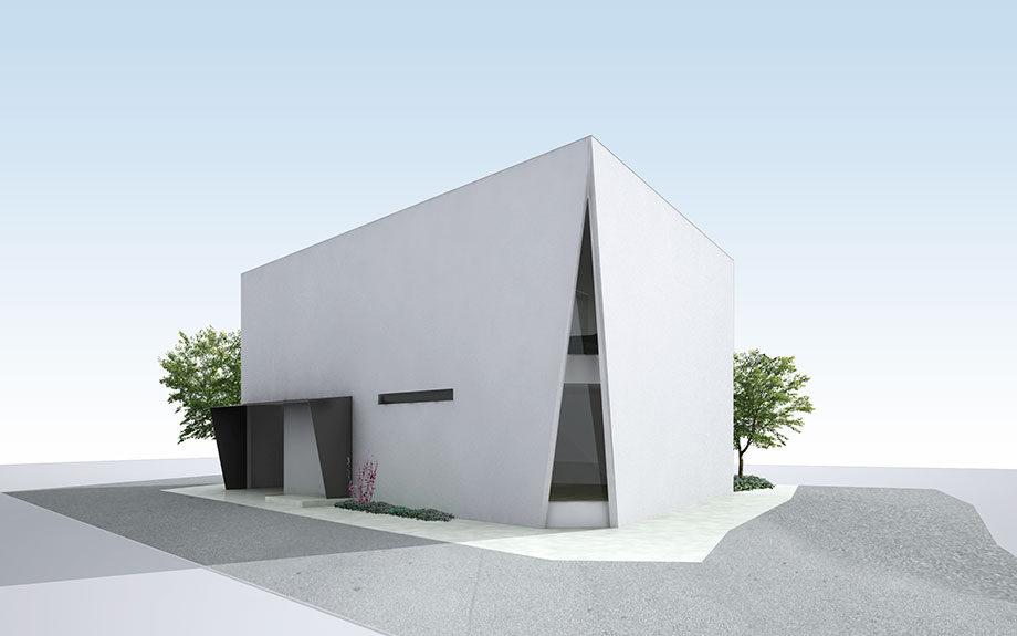 大阪市に設計中の台形型の中庭のある住宅、外観イメージ