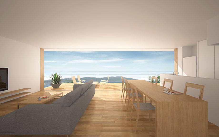 兵庫県明石市に計画中の眺望の良い注文住宅2階リビング内観イメージ