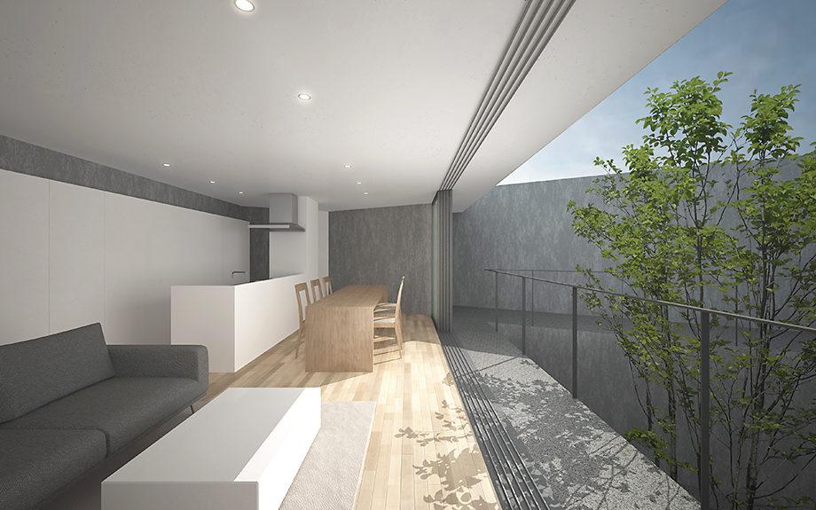 広島県広島市に計画中の三角形の中庭のある住宅、内観イメージ