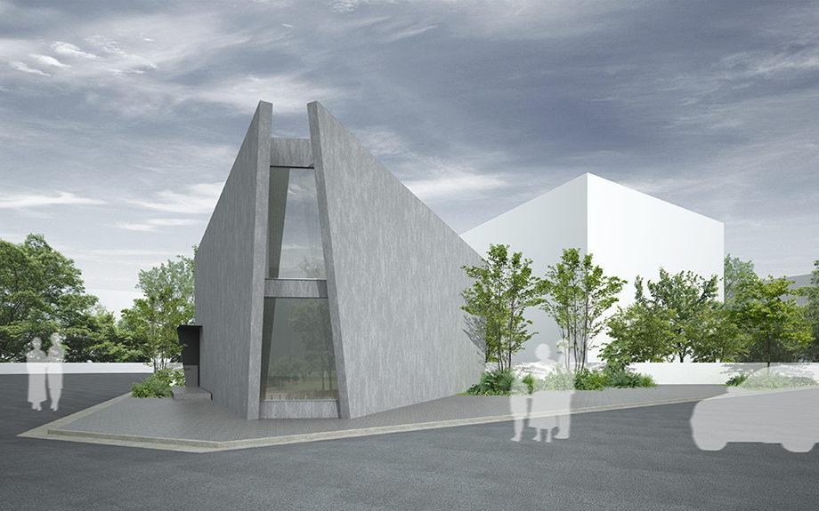 広島県広島市に計画中の三角形の中庭のある住宅、外観イメージ