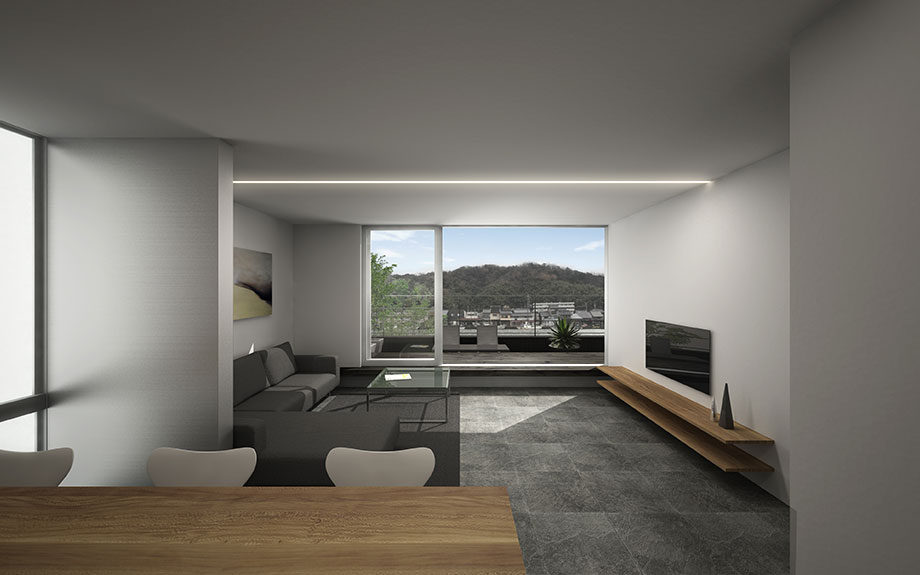 舞鶴市で計画中の眺望を生かしたリフォーム計画 , 内観CGパース