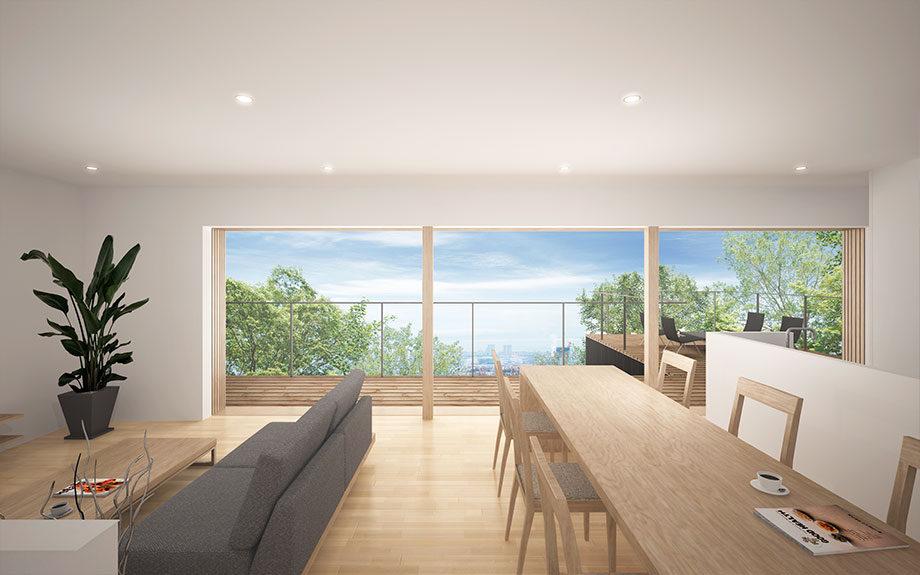 神戸市東灘区御影の高台に設計中の眺望の良い注文住宅2Fリビング