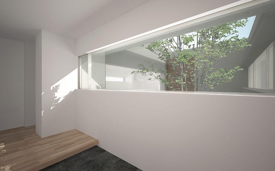 大阪府高槻市内に計画された中庭を持つ平屋のコートハウス。玄関から中庭を望む