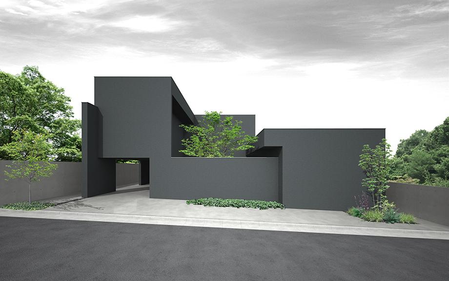 奈良県奈良市に計画中の中庭のある家、外観イメージ