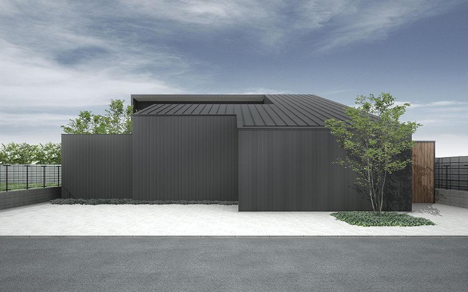 大阪で計画中の中庭のある注文住宅,黒い外壁のコートハウス