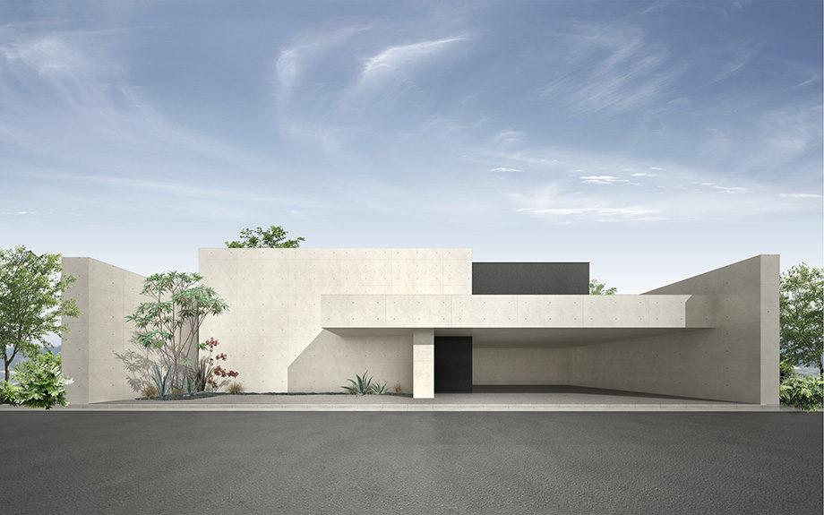大阪府堺市で計画中のコートハウス,中庭のある注文住宅,RC造の家