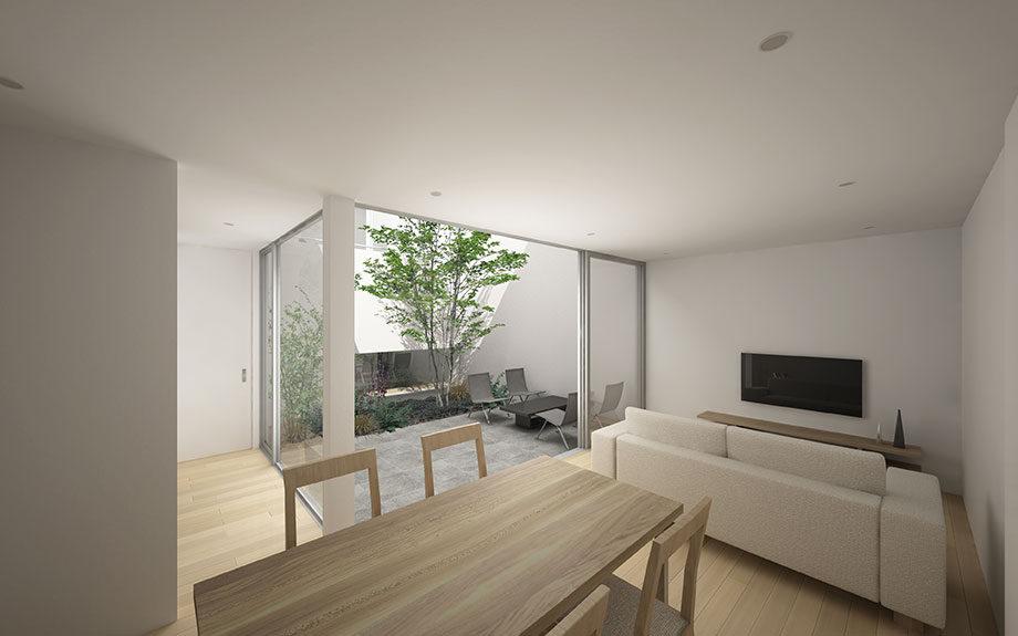 大阪市内で計画中の中庭のある住宅。リビングダイニングから中庭を見たCG画像