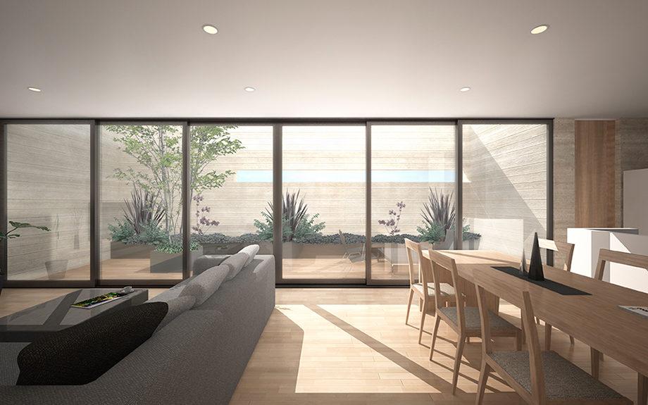 大阪市内に計画された4階建ての店舗併用住宅
