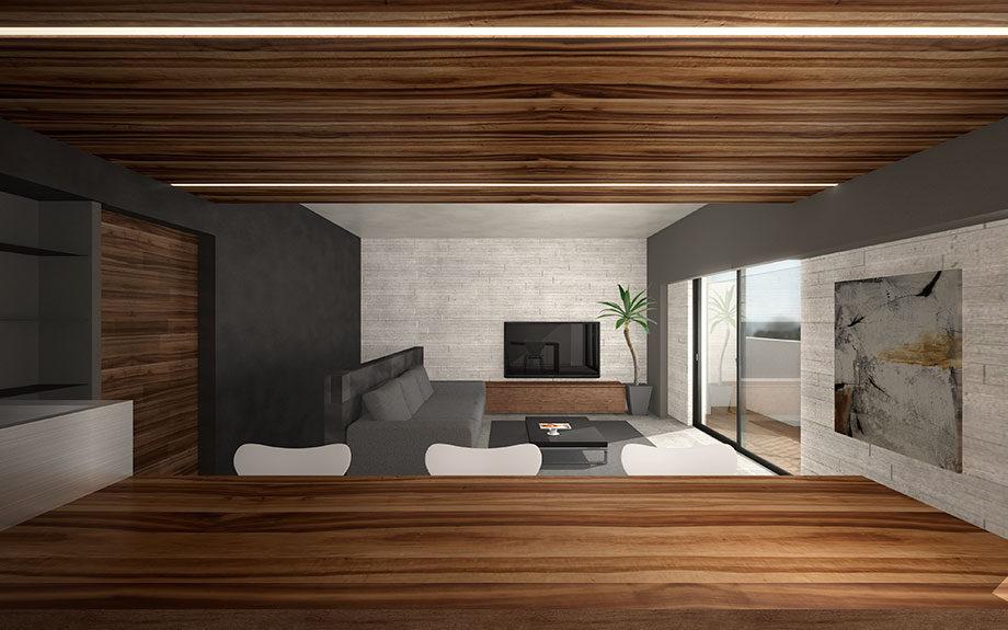 兵庫県神戸市に設計中のマンションリフォーム内観うづくりモルタル