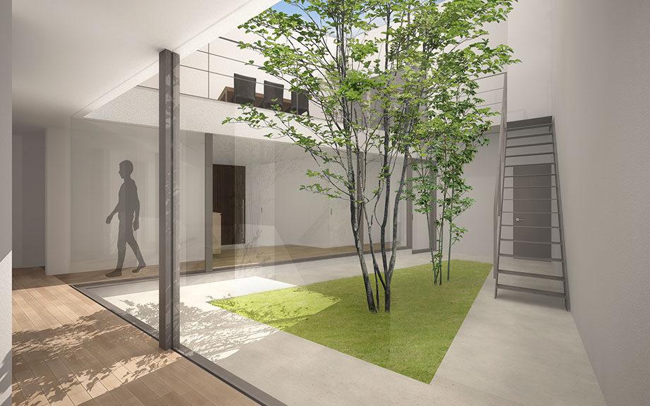 大阪市に設計中の台形型の中庭のある注文住宅イメージパース