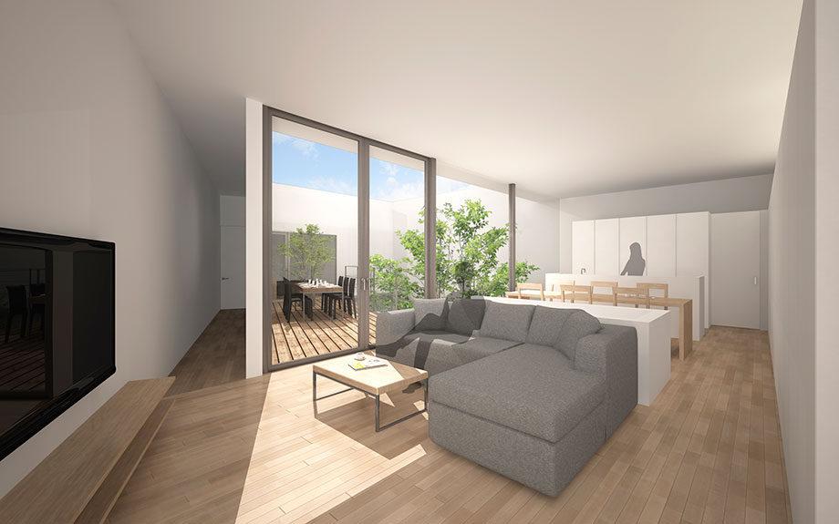 大阪市に計画中の台形型の中庭を持つコートハウス、2階リビングよりウッドデッキを望む