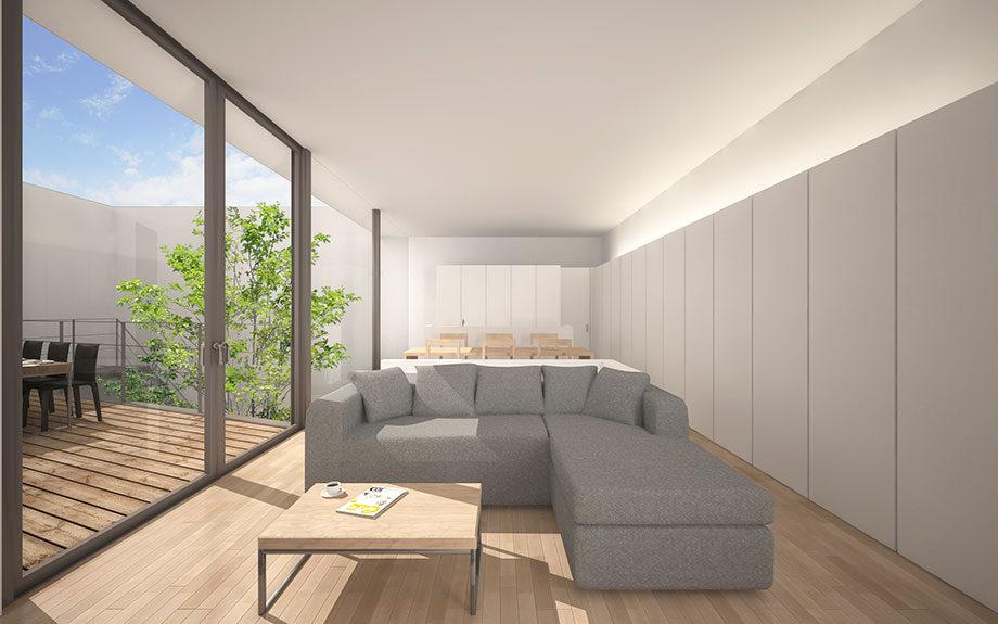 大阪市に計画中の台形型の中庭を持つコートハウス、2階リビング