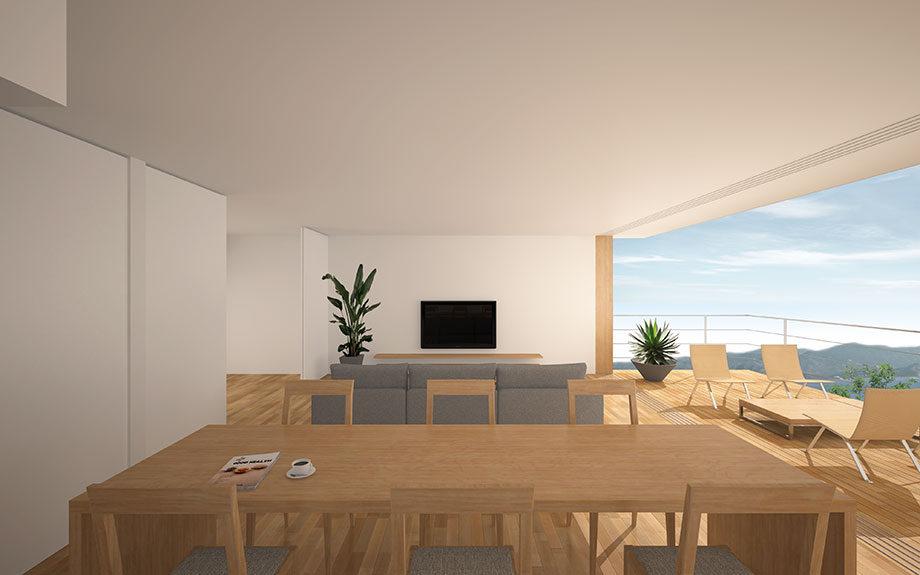兵庫県明石市に設計中の眺望の良い注文住宅2階内観