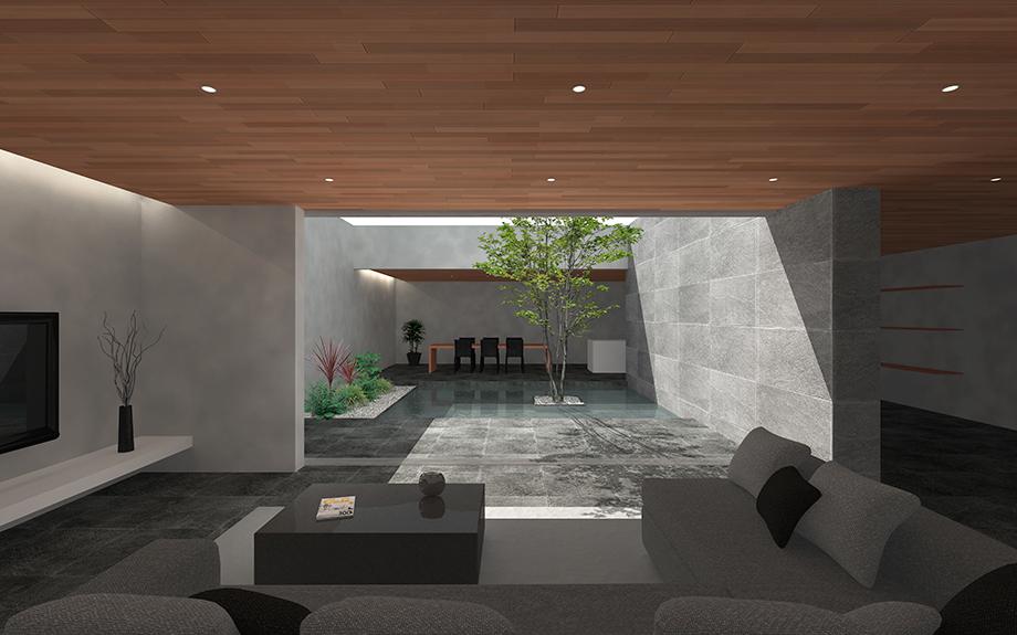 大阪市阿倍野区に計画中の中庭のある家、外観イメージ