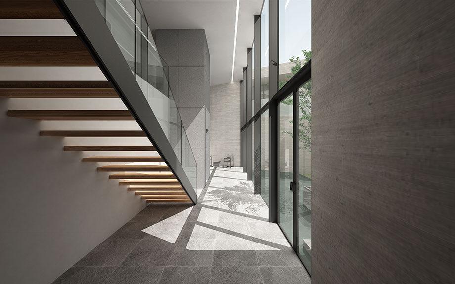 芦屋市に計画中の中庭をもつ豪邸のタイル張り内観イメージパース
