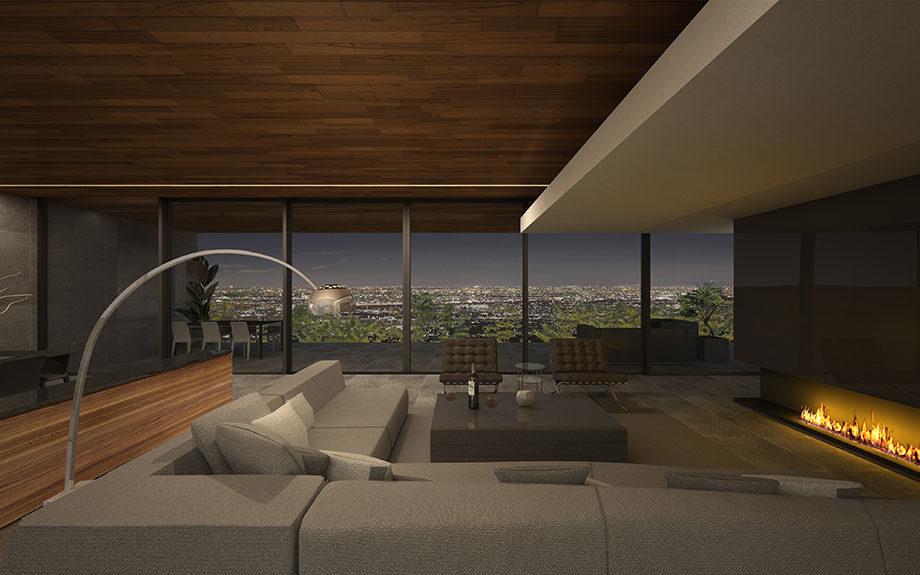 芦屋市に計画中の豪邸、眺望を生かした住まい、中庭をもつ住まい、タイル張り