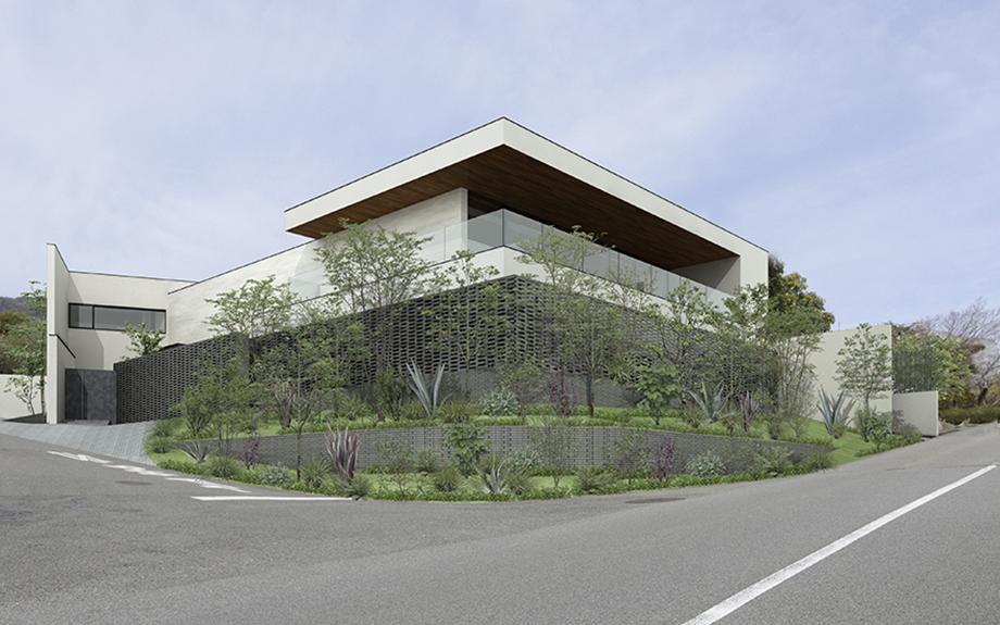 芦屋市に計画中の豪邸は眺望を生かした中庭をもつ住まい