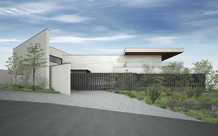 芦屋市に計画中の豪邸の外観イメージパース