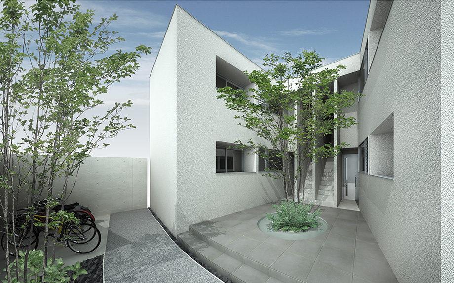 大阪市内で計画中の集合住宅,白い外壁で爽やかなイメージに