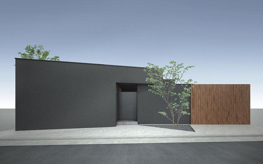 大阪府八尾市に計画中のコートハウス,中庭をもつ注文住宅,ダークグレーの外観イメージ