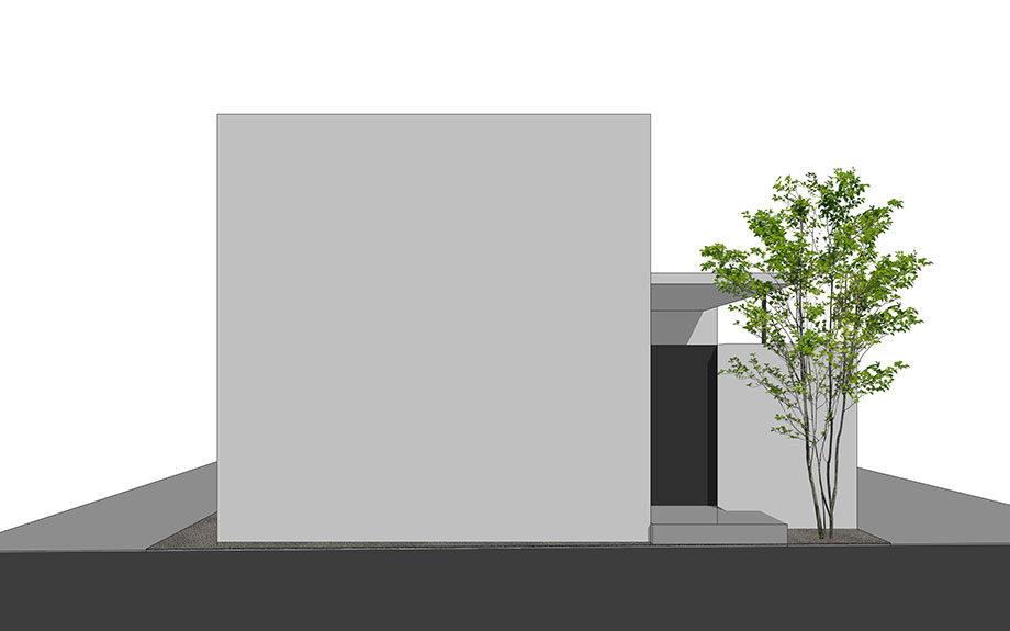 神戸市で計画中のコートハウス,中庭のある注文住宅,白い外壁の家