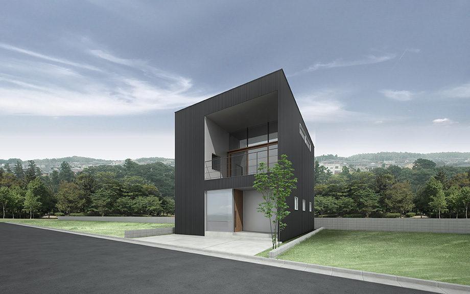 大阪府箕面市に計画中の注文住宅,眺望を活かした住まい,ガルバリウム鋼板による外観