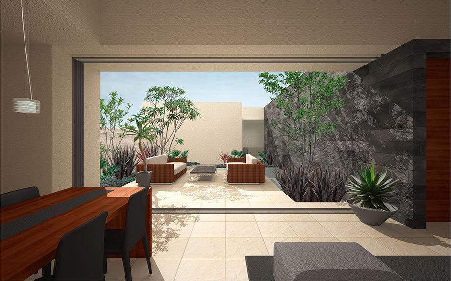 大阪府堺市に計画中のリゾート風中庭のある注文住宅