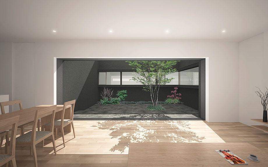 大阪府高槻市内に計画された中庭を持つ平屋のコートハウス。リビングから中庭を望む。