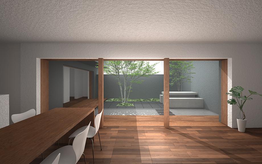 奈良県奈良市に計画中の中庭のある家、内観イメージ