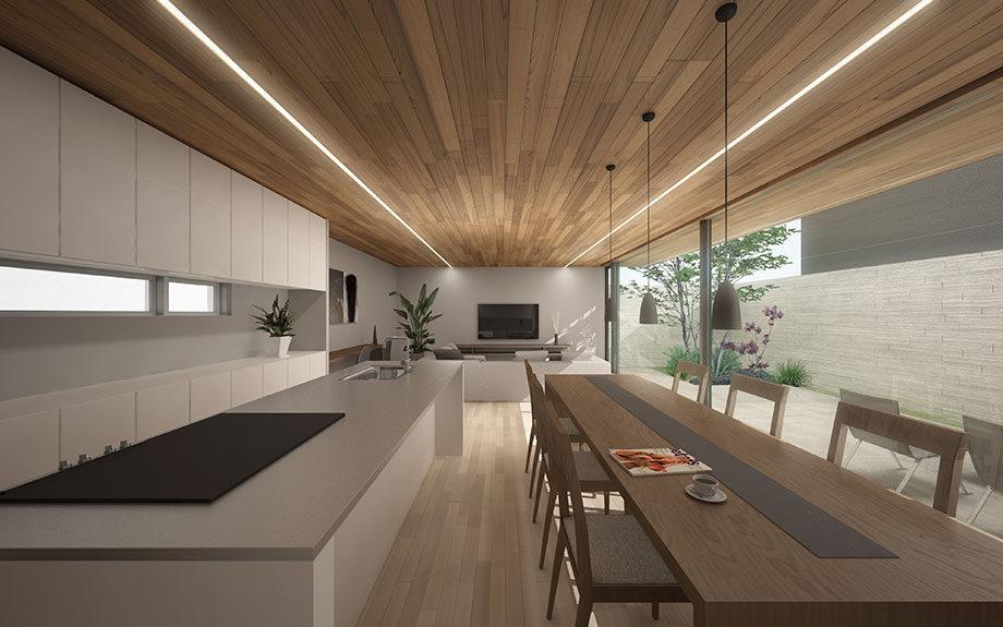 大阪府堺市で計画中のコートハウス,中庭のある注文住宅,RC造の家,リビングのイメージ